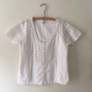 J Crew Eyelet Button Down Blouse 0